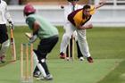 Rotorua's Andrew Gibbs bowls to Tauranga captain Jono Boult during an Attrill Cup cricket match at Pemberton Park on Sunday. Photo / Joel Ford