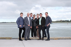 New Tauranga councillors John Robson, Steve Morris, Matt Cowley, Bev Edlin, Gail McIntosh, Kelvin Clout and Clayton Mitchell at the city waterfront on The Strand yesterday. Photo / Joel Ford