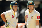 Michael Clarke (right) at the crease with Ricky Ponting. Photo / Getty Images