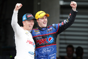 Steven Richards and Mark Winterbottom of Ford Performance Racing celebrate their win at Bathurst at the weekend.