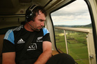 Andrew Hore flew in a helicopter yesterday to Balclutha on an All Black promotional visit. Photo / Getty Images