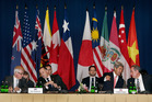 U.S. Secretary of State John Kerry, Michael Froman, New Zealand Prime Minister John Key, Trade Minister Tim Grosser. Photo / AP