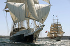 The Dutch barque Europa (right) is due in the Bay of Islands tonight while Lord Nelson (left) has retired from the race to continue under motor after suffering rigging damage.