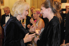 New Zealand author Eleanor Catton, with the Duchess of Cornwall. Photo / Sarah Ivey