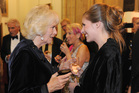 Eleanor Catton meets the Duchess of Cornwall prior to winning the Man Booker Prize for Fiction, in central London. Photo / AP