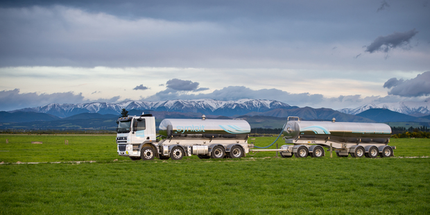 Synlait milk tanker in Hororata Canterbury. Synlait Farms supplies about a tenth of listed dairy processor Synlait Milk's needs. Photo / Brett Walker