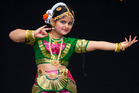 A dancer from the Anujay School of Dance on stage at the Diwali Festival of Lights.Photo / David Rowland.