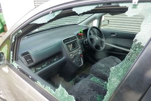 Jill Willmott's car windows were blown out by wind in Featherston.