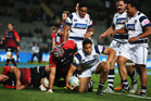 George Moala of Auckland celebrates after scoring a try during the round 7 ITM Cup match between Auckland and Canterbury. Photo / Getty Images