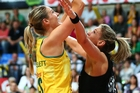 Caitlin Bassett sparkled for Australia's Diamonds, shooting the winning goal. Photo / Getty Images
