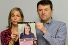 Kate and Gerry McCann with a poster depicting an age-progression computer-generated image of their daughter Madeleine at 9 to mark her birthday and the fifth anniversary of her disappearance. Photo / AP