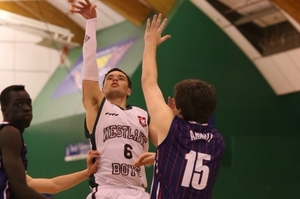 Jaylen Gerrand shoots on the way to his 26-point tally against Rangitoto WBHS won 78-68.