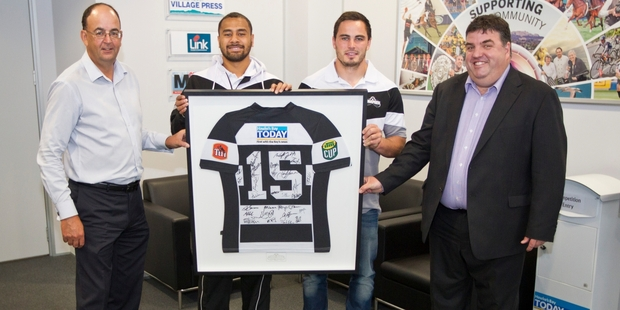 Hawke's Bay Today general manager Russell Broughton (left), Magpies Telusa Veainu and Zac Guildford and Hawke's Bay Today editor Andrew Austin pictured at the sponsor jersey presentation yesterday. Photo / Glenn Taylor