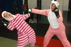 Kirsty Rhodes and Nicki Rees punch above their weight to raise funds for breast cancer research. Photo/Supplied