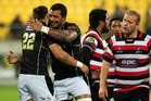 Ambrose Curtis of Wellington is congratulated on his try by teammate Faifili Levave during the ITM Cup semi final match between Wellington and Counties Manukau. Photo / Getty Images