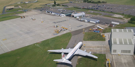 An aerial view of Manston Airport, in Kent, England.