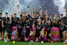 New Zealand hold up the winners trophy as they celebrate winning the Gold Coast. Photo / Getty Images