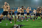 The All Blacks Sevens perform the haka after defeating Australia in the Cup final at the Gold Coast Sevens. Photo / Getty Images