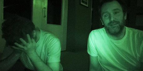 South Park creators Matt Stone and Trey Parker during the power outage at South Park Studios.