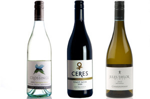 The Crossings Marlborough Sauvignon Blanc, Ceres Composition Central Otago Pinot Noir and Jules Taylor Wines Marlborough Chardonnay.