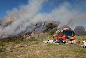 Firefighters battled an out of control rubbish fire in Paengaroa for more than four hours. Photo / Andrew Warner