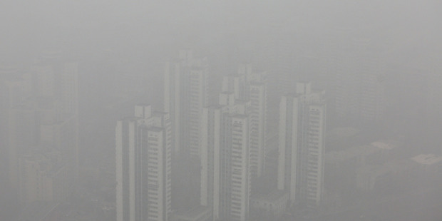 A general view of Beijing city during severe pollution . Photo / Getty Images