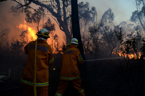NSW Rural Fire Service crew from Bullaburra as the bushfire in the Blue Mountains continues. Photo / AAP