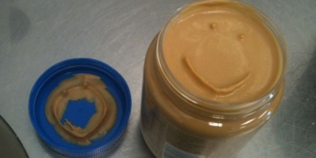 """This is how I found my new jar of peanut butter this morning,"" writes Charlie Telfer."