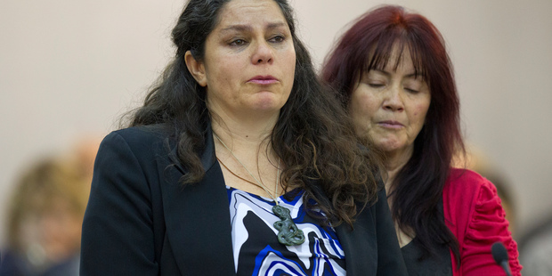 Nicole Craig, supported by Lian Braddick, reading her victim impact statement during the sentencing of Tristam Eastham, for the manslaughter of her son Sean Strongman-Lintern. Photo / Mark Mitchell