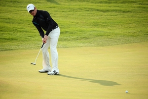 SImon Dyson was seen to touch the line of his second putt. Photo / Getty Images