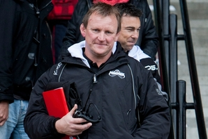 Magpie coaches Craig Philpott (front) and Danny Lee.