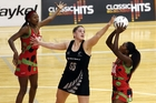 Te Huinga Reo Selby-Rickit defends against Jane Chimaliro of Malawi during the first test in Wellington. Photo / Getty Images