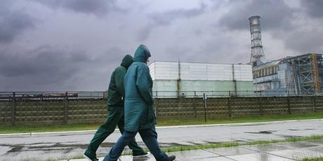 People walking near Chernobyl.