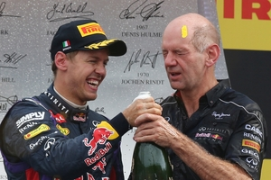 Adrian Newey and Sebastian Vettel celebrate another Formula One victory for Red Bull. Photo / AP