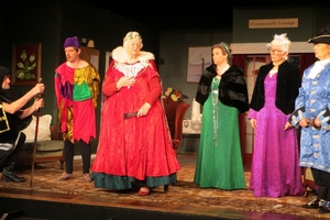 Janis Bull (centre) plays Elizabeth, who leads a retirement village revolt against the council during a recent production of The Old People Are Revolting. Photo / Supplied