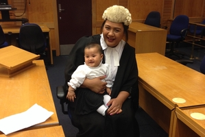 SUCCESS: Janet Vaiusu was admitted to the Bar earlier this week and says she hopes to move home to Hawke's Bay for her first job after finishing her post-graduate study. Her partner and baby daughter attended the ceremony, along with family and friends. PHOTO/SUPPLIED