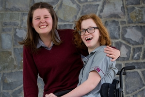 Molly Cody, left, who has Type 1 diabetes, and Grace Stratton, who has cerebral palsy, are off to America with Koru Care. Photo / Richard Robinson