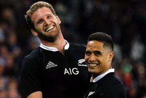 Kieran Read and Aaron Smith celebrate the 41-33 victory over the Wallabies on Saturday. Photo / Getty Images