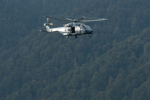 Flight Lieutenant George McInnes flies over the Pike River mine site yesterday. Photo / NZDF