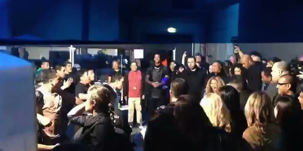 Beyonce performs the haka along with her backstage crew in Auckland. Photo / YouTube