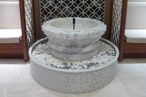 A marble water feature in the hammam. Photo / Justine Tyerman