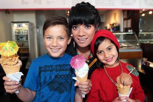 Ladi6 with her son, Philli Park-Tamati, and niece, Mikki Tamati-Clark, at their favourite icecream haunt, Casa Del Gelato. Photo / Doug Sherring