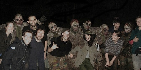 These zombies look real, for this is no low-budget costume party. Run for it!