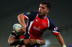 Tasman's James Lowe during last month's 23-12 loss at Albany. Photo / Getty Images