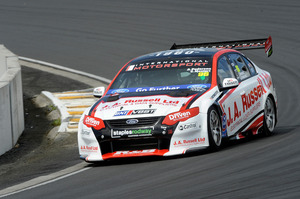 Ant Pedersen and Chaz Mostert in their Ford at Hampton Downs and (below) the winners on the podium. Pictures / Geoff Ridder