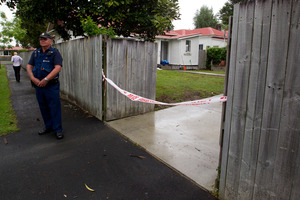 The Te Aroha Street property remains cordoned off while police investigate the teenager's death. Photo / Christine Cornege