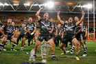 Issac Luke of the Kiwis leads the haka after winning the 2008 Rugby League World Cup Final. Photo / Getty Images