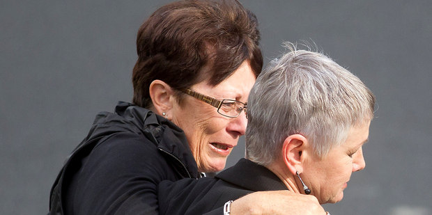 Luise Wilkinson (right) and a friend leave court after yesterday's verdict. Photo / Christine Cornege
