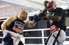 New Zealand Boxer David Tua spars against Raymond Olubowele at Tua's Gym in Onehunga, Auckland ahead of his next big fight. Photo / By Greg Bowker