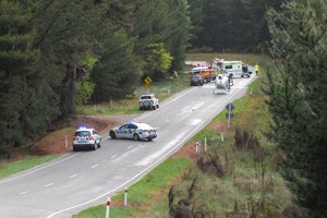 The scene of the fatal crash near Wanaka. Photo / Otago Daily Times